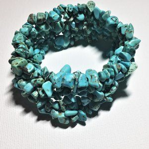 Simulated Turquoise Chip Stretchy Bracelet